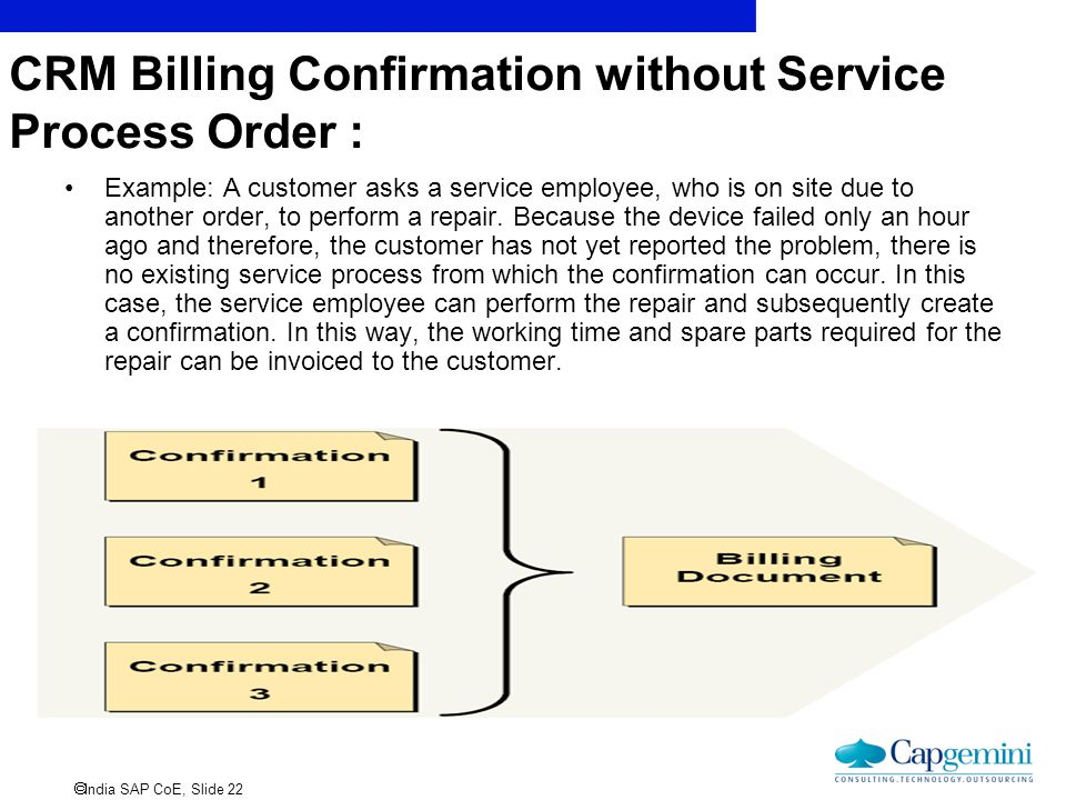 CRM Billing Confirmation without Service Process Order :