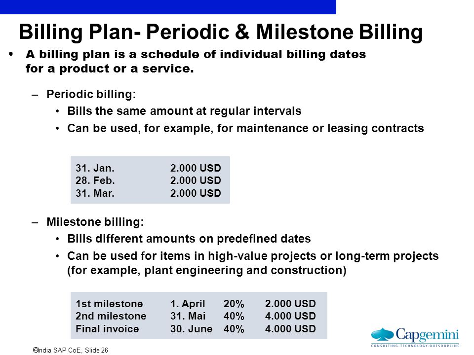 Billing Plan- Periodic & Milestone Billing