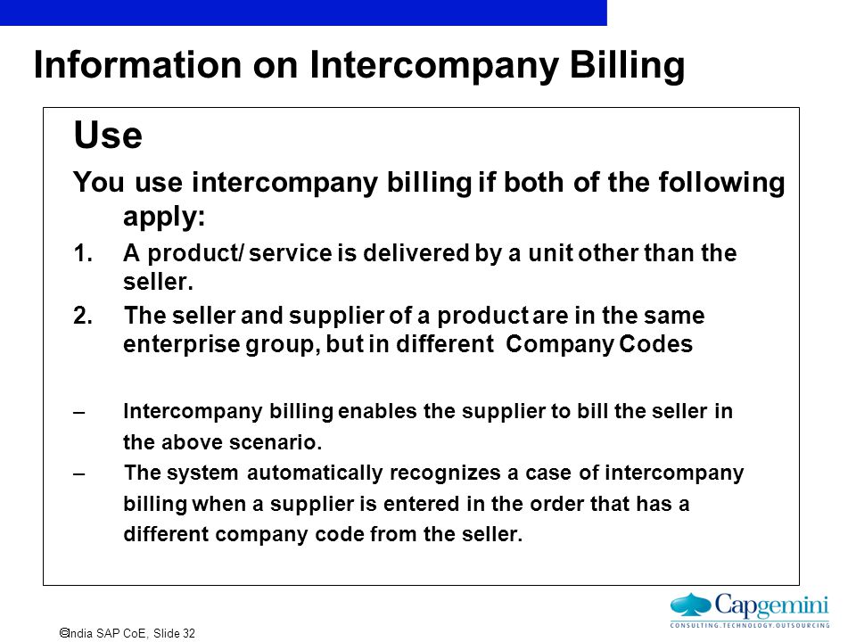 Information on Intercompany Billing