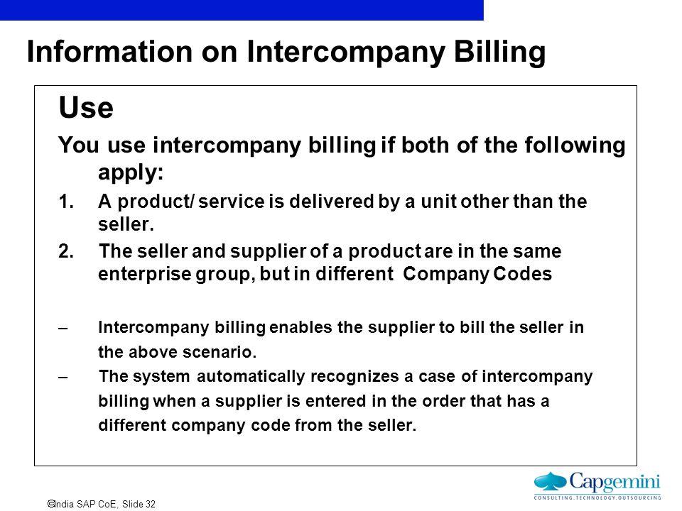 Information on Intercompany Billing