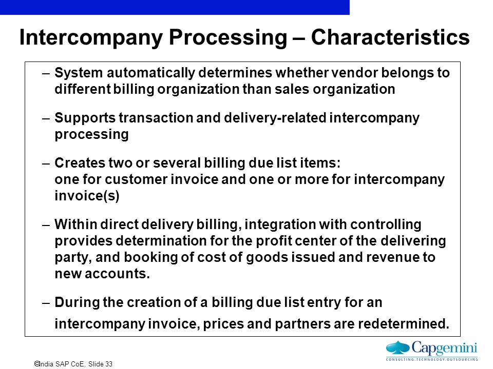 Intercompany Processing – Characteristics