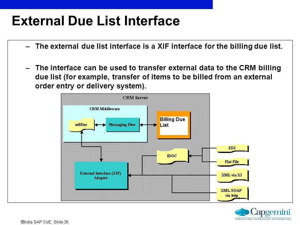 External Due List Interface