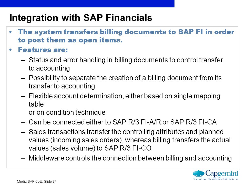 Integration with SAP Financials