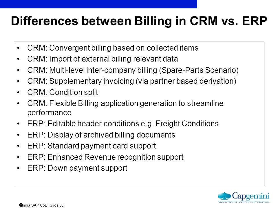 Differences between Billing in CRM vs. ERP