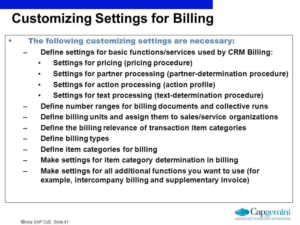 Customizing Settings for Billing