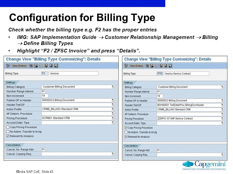 Configuration for Billing Type