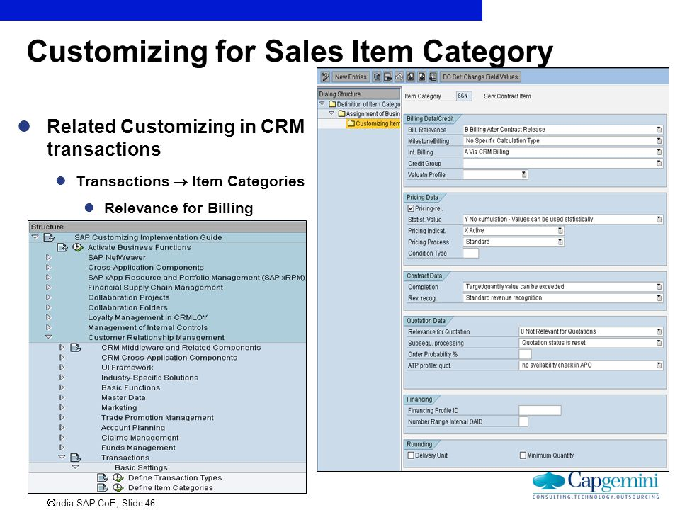Customizing for Sales Item Category