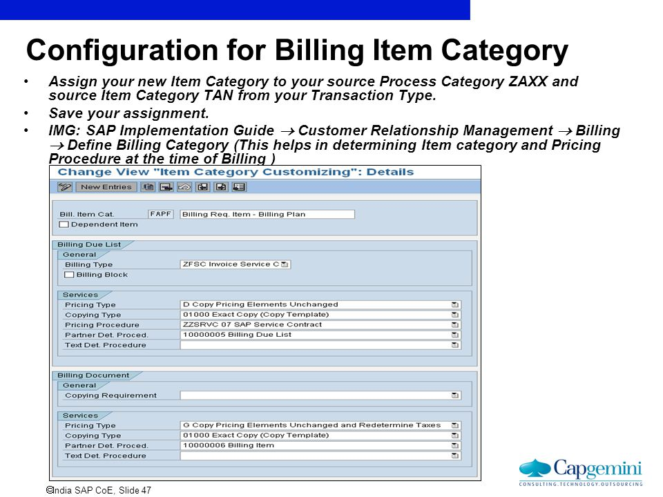 Configuration for Billing Item Category