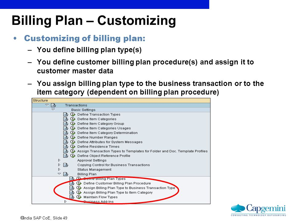 Billing Plan – Customizing