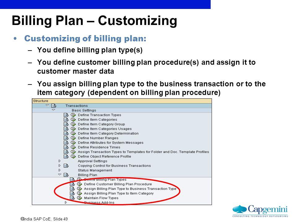 Billing Plan – Customizing