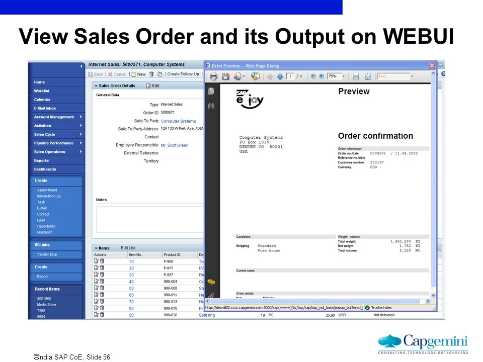 View Sales Order and its Output on WEBUI