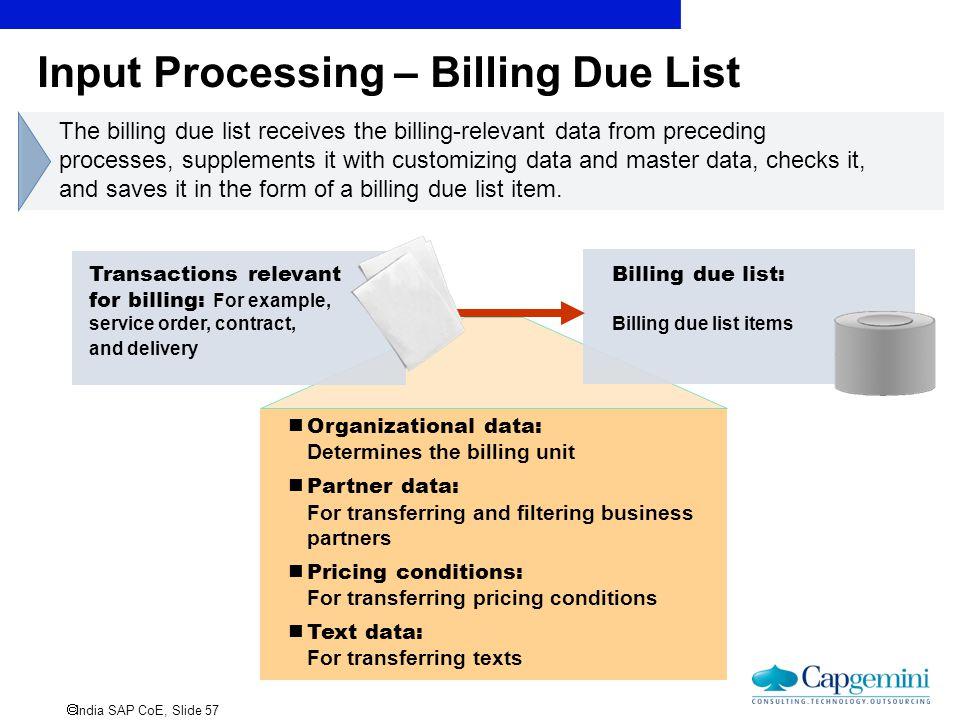 Input Processing – Billing Due List