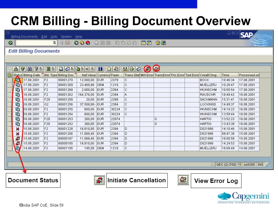 CRM Billing - Billing Document Overview