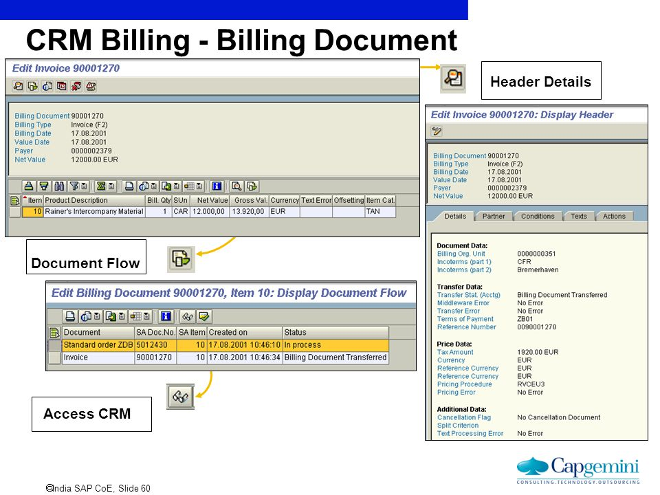 CRM Billing - Billing Document