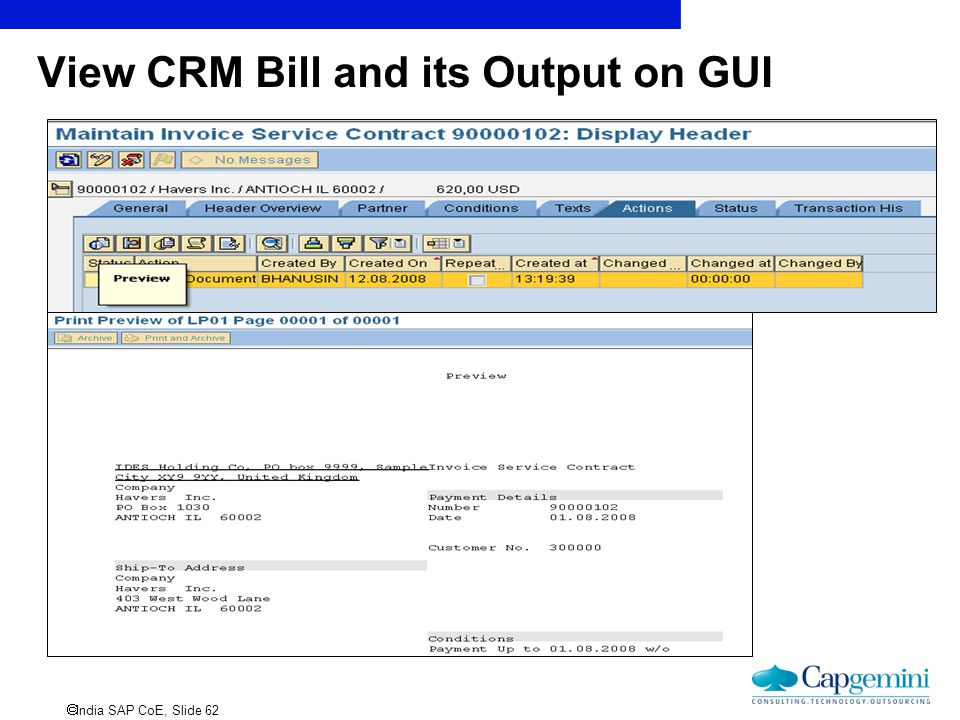 View CRM Bill and its Output on GUI