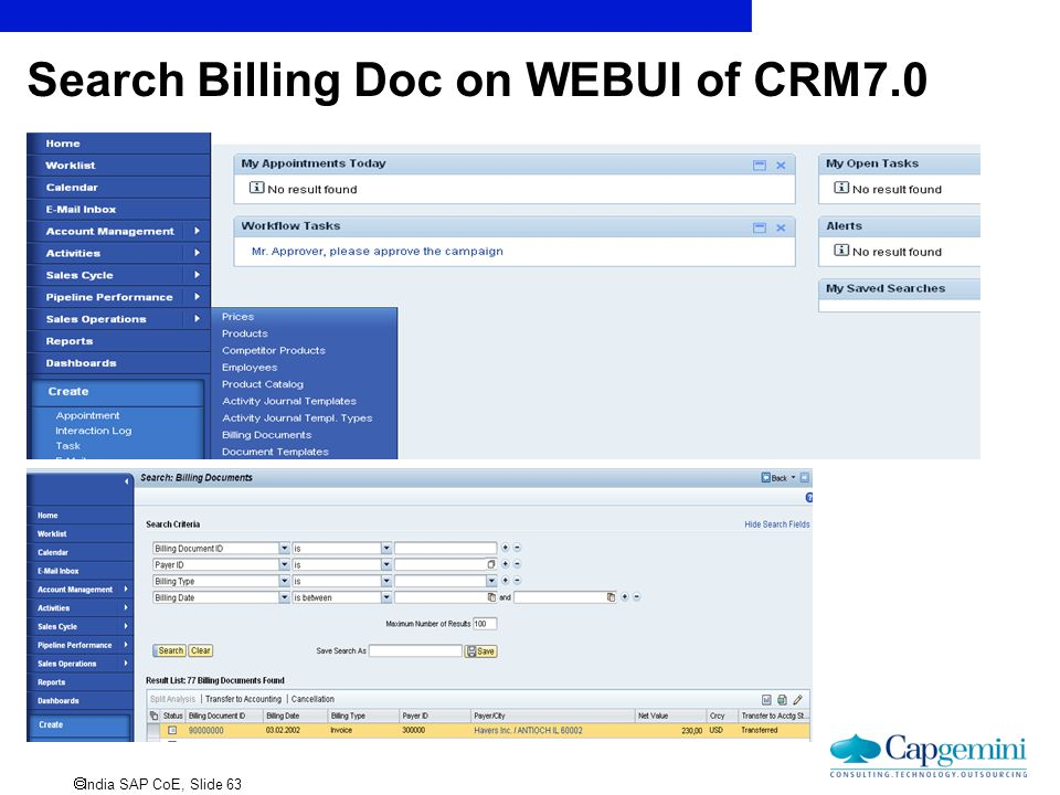 Search Billing Doc on WEBUI of CRM7.0