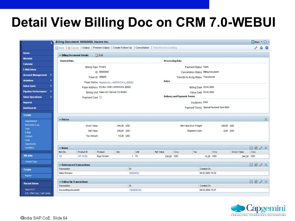 Detail View Billing Doc on CRM 7.0-WEBUI