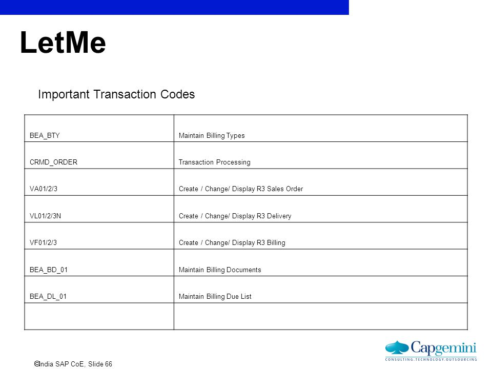 LetMe Important Transaction Codes BEA_BTY Maintain Billing Types