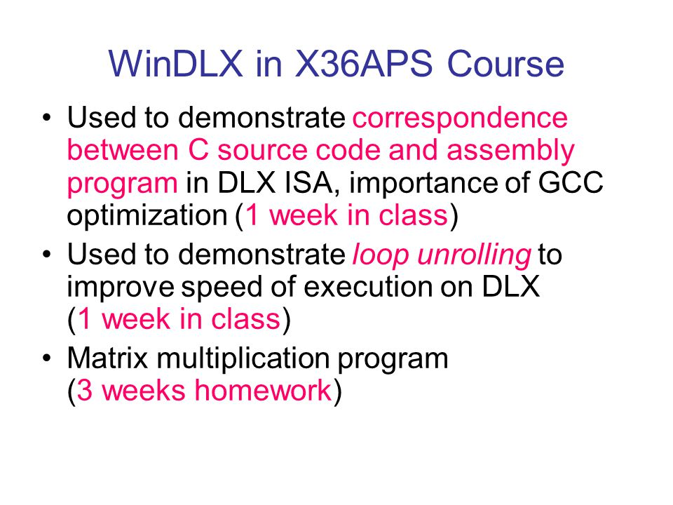 WinDLX in X36APS Course