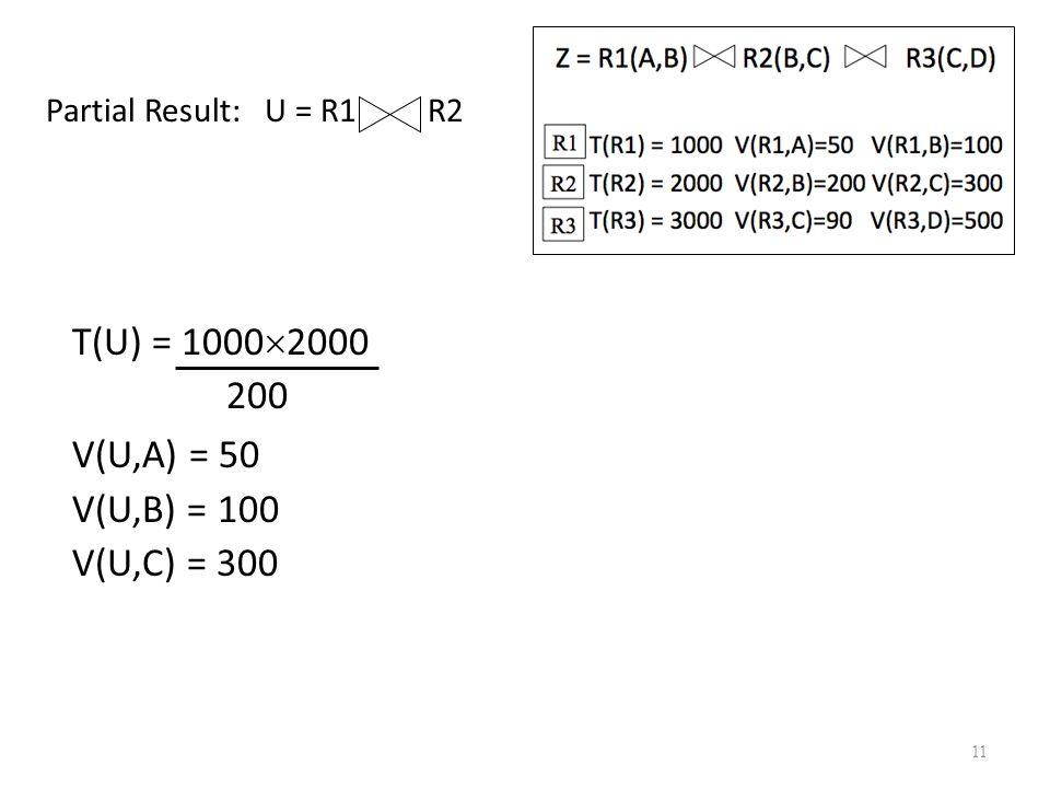 T(U) = 10002000 200 V(U,A) = 50 V(U,B) = 100 V(U,C) = 300