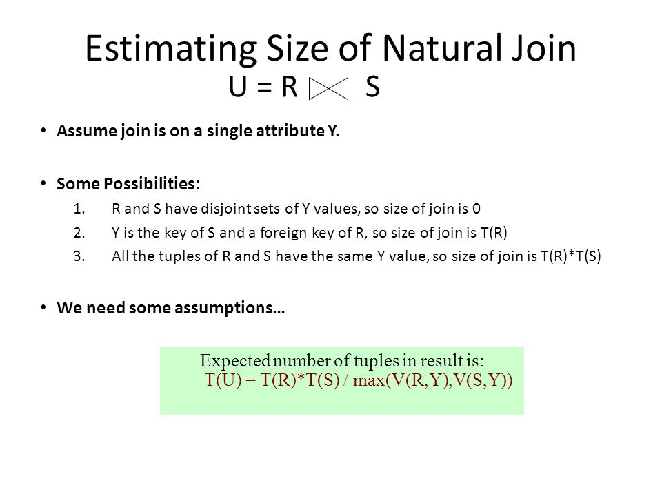 Estimating Size of Natural Join