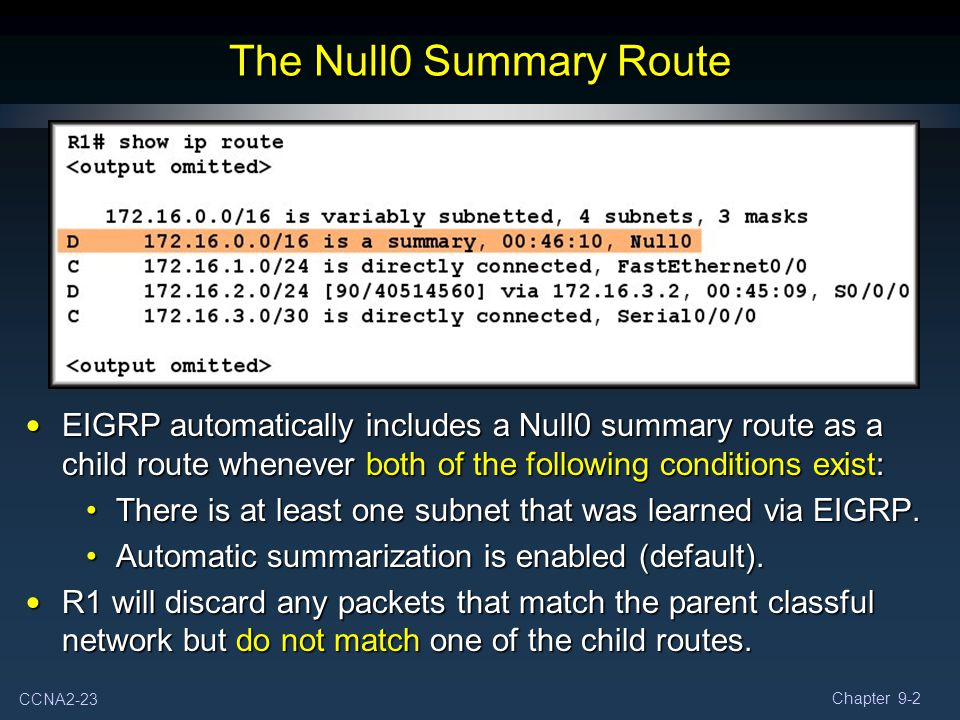 The Null0 Summary Route EIGRP automatically includes a Null0 summary route as a child route whenever both of the following conditions exist: