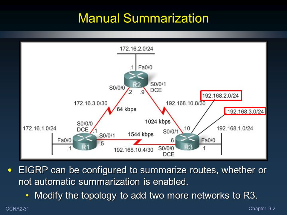 Manual Summarization EIGRP can be configured to summarize routes, whether or not automatic summarization is enabled.