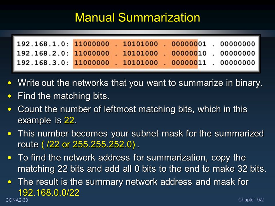 Manual Summarization Write out the networks that you want to summarize in binary. Find the matching bits.
