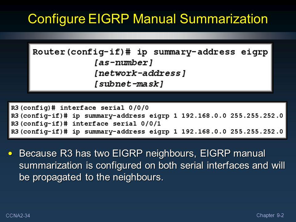 Configure EIGRP Manual Summarization
