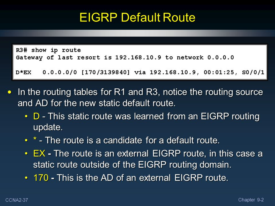 EIGRP Default Route In the routing tables for R1 and R3, notice the routing source and AD for the new static default route.