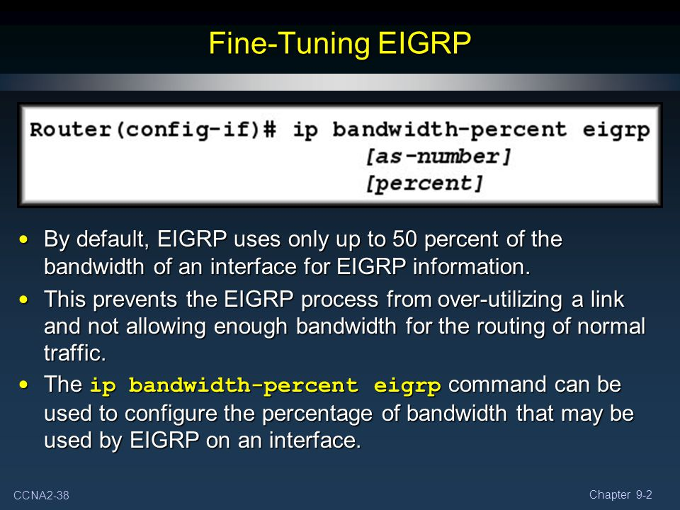 Fine-Tuning EIGRP By default, EIGRP uses only up to 50 percent of the bandwidth of an interface for EIGRP information.