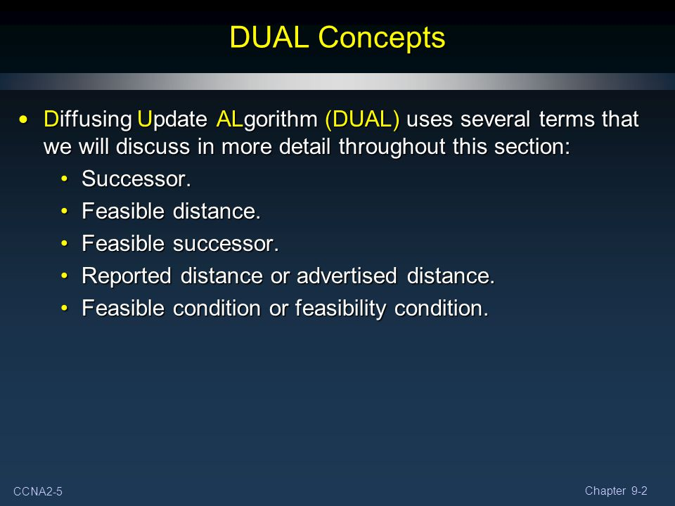 DUAL Concepts Diffusing Update ALgorithm (DUAL) uses several terms that we will discuss in more detail throughout this section: