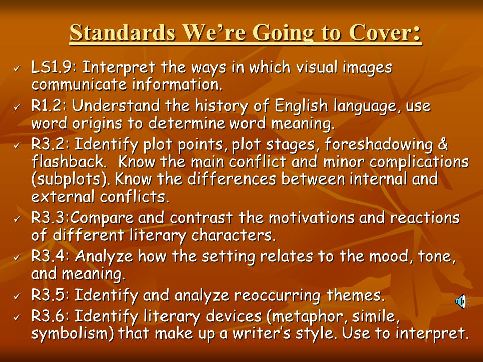 Standards We're Going to Cover: