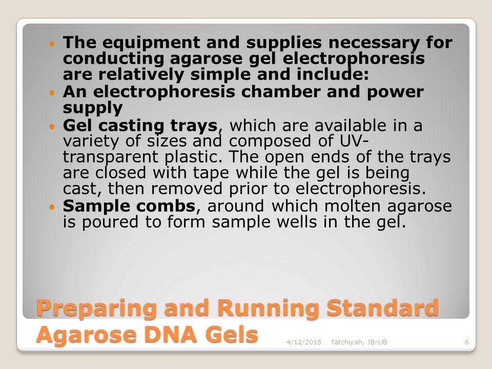 Preparing and Running Standard Agarose DNA Gels