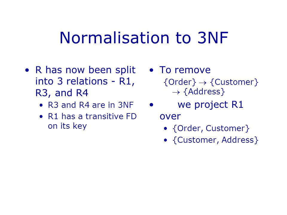 Normalisation to 3NF R has now been split into 3 relations - R1, R3, and R4. R3 and R4 are in 3NF.