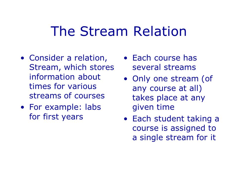The Stream Relation Consider a relation, Stream, which stores information about times for various streams of courses.