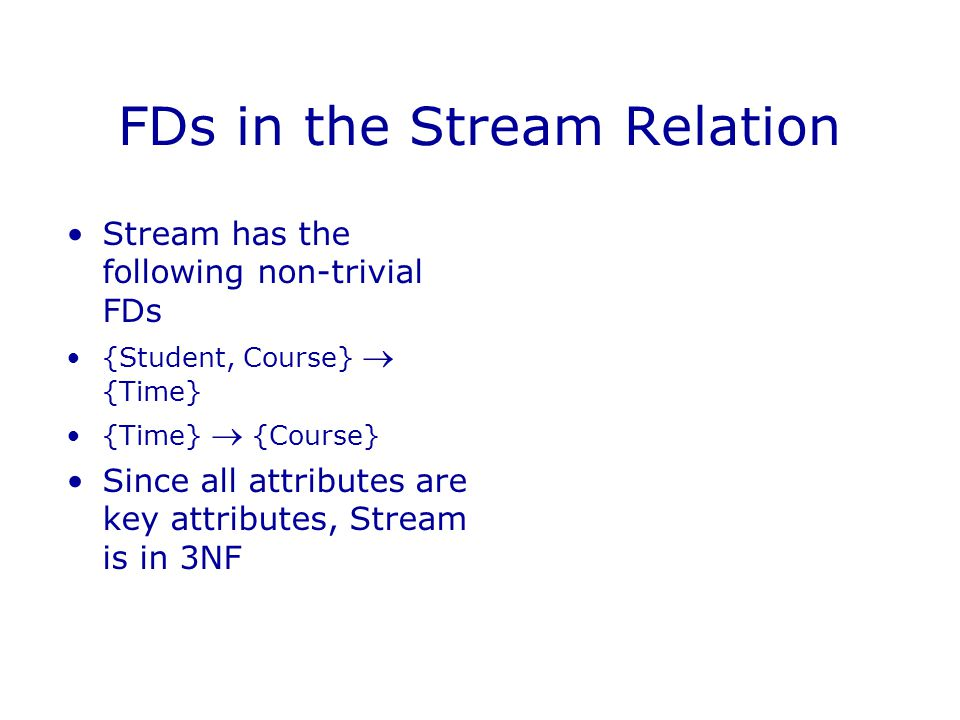 FDs in the Stream Relation