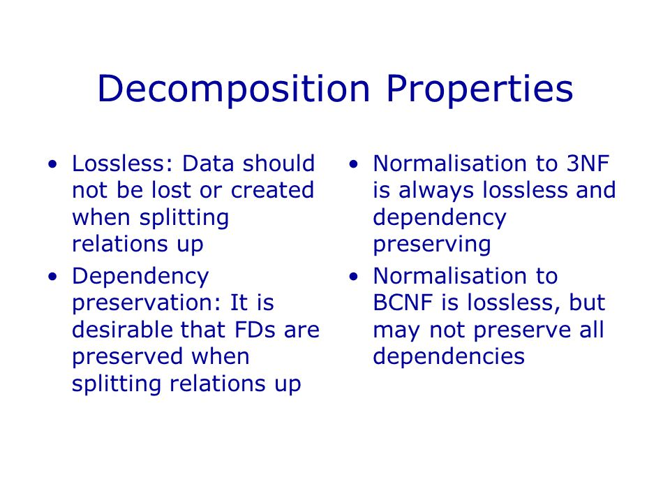 Decomposition Properties
