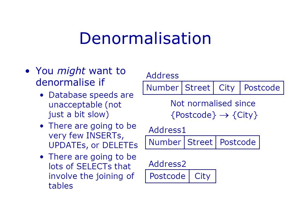 Denormalisation You might want to denormalise if