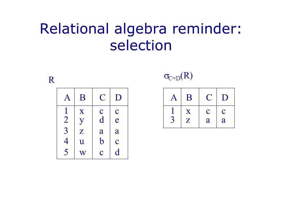 Relational algebra reminder: selection