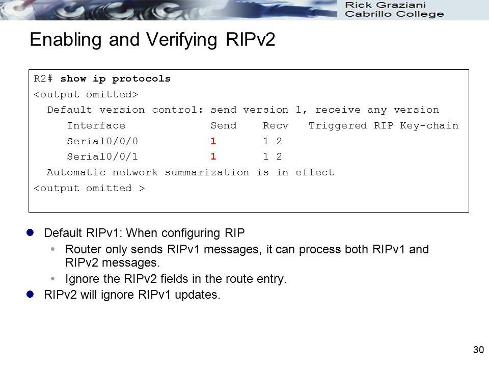 Enabling and Verifying RIPv2