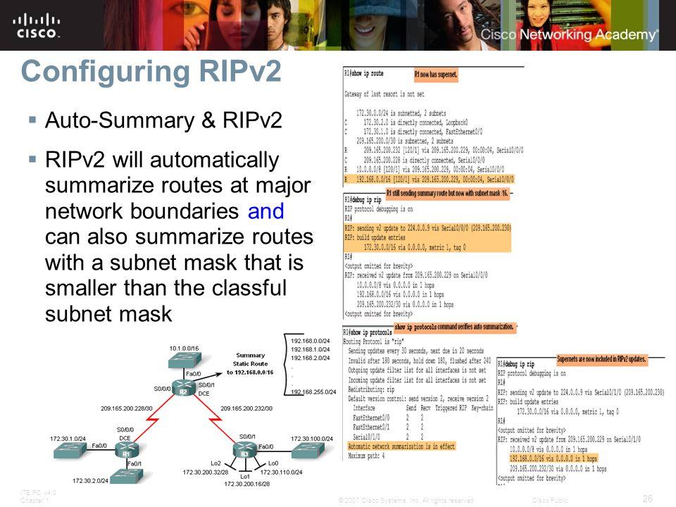 Configuring RIPv2 Auto-Summary & RIPv2