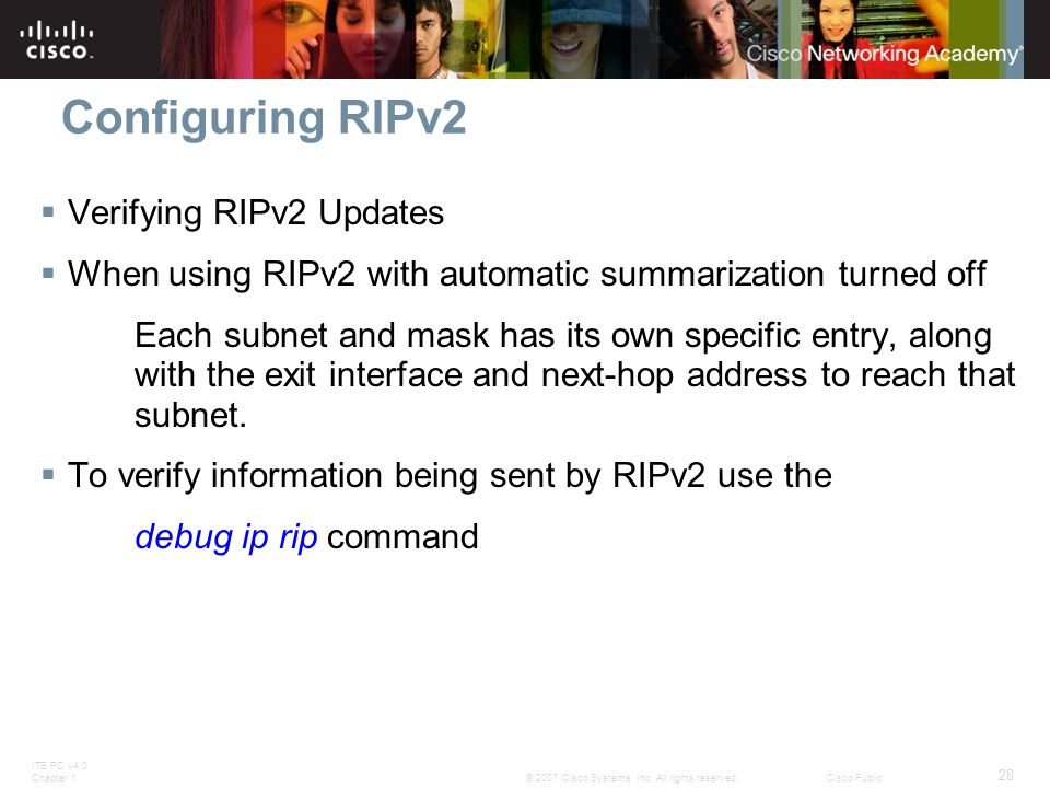 Configuring RIPv2 Verifying RIPv2 Updates
