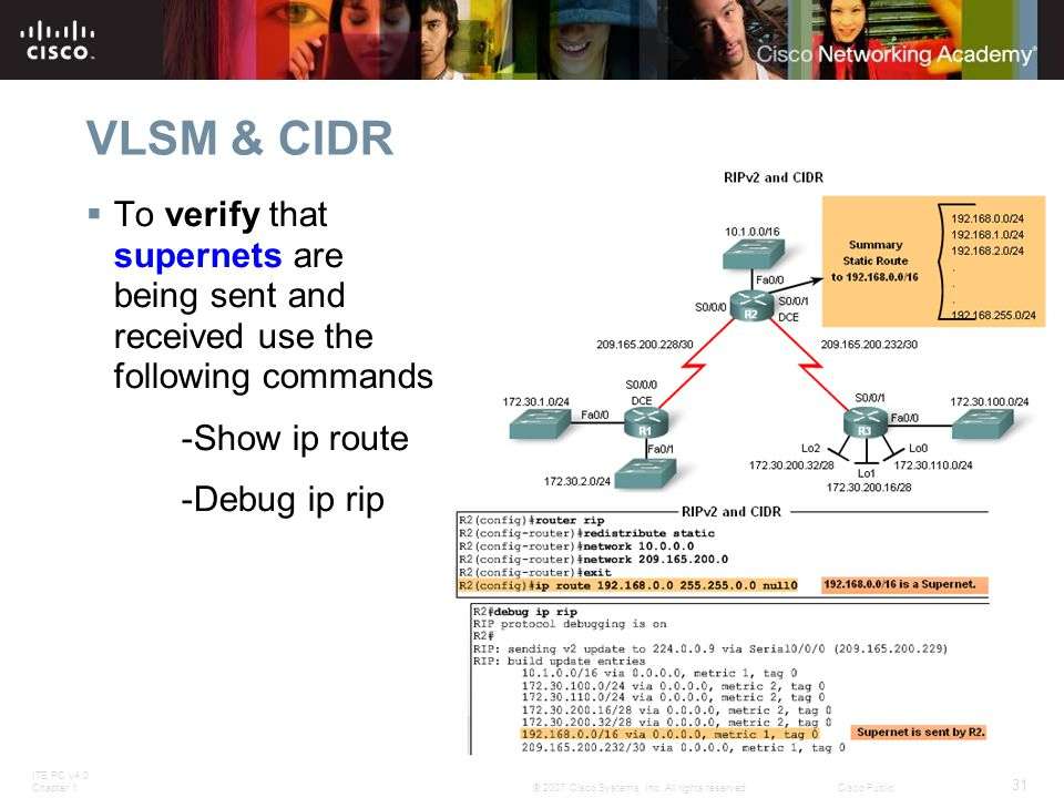 VLSM & CIDR To verify that supernets are being sent and received use the following commands. -Show ip route.