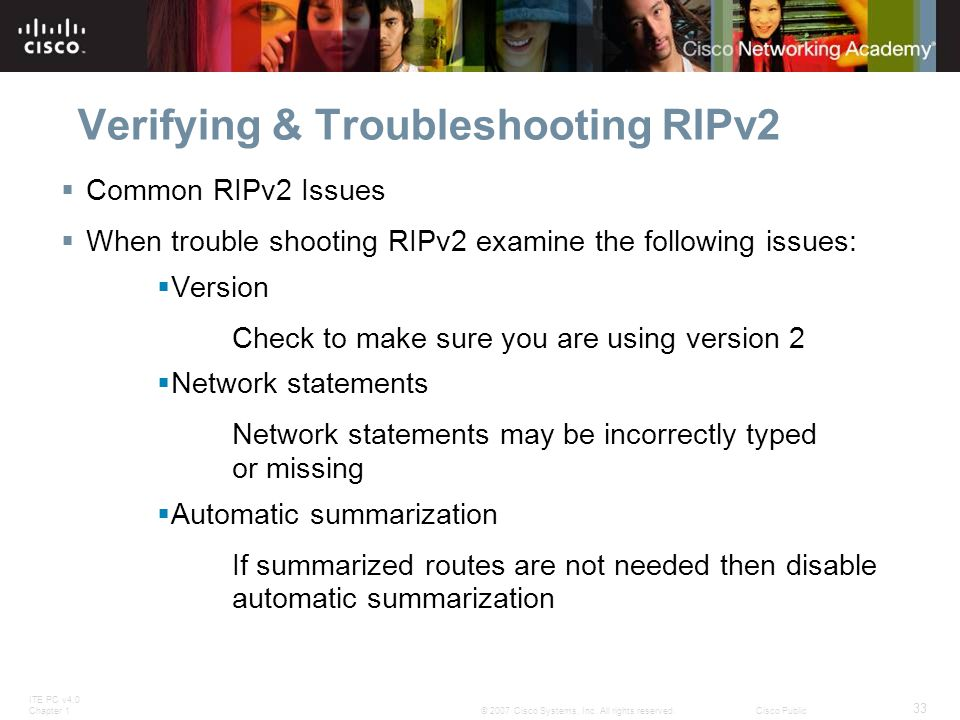Verifying & Troubleshooting RIPv2