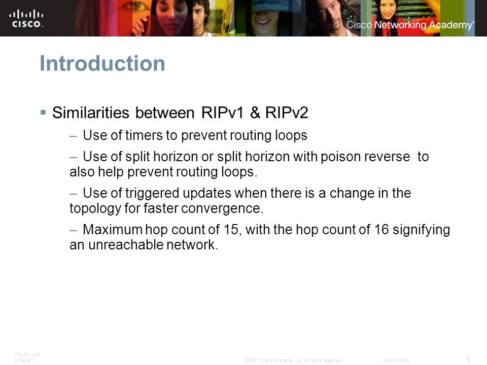 Introduction Similarities between RIPv1 & RIPv2