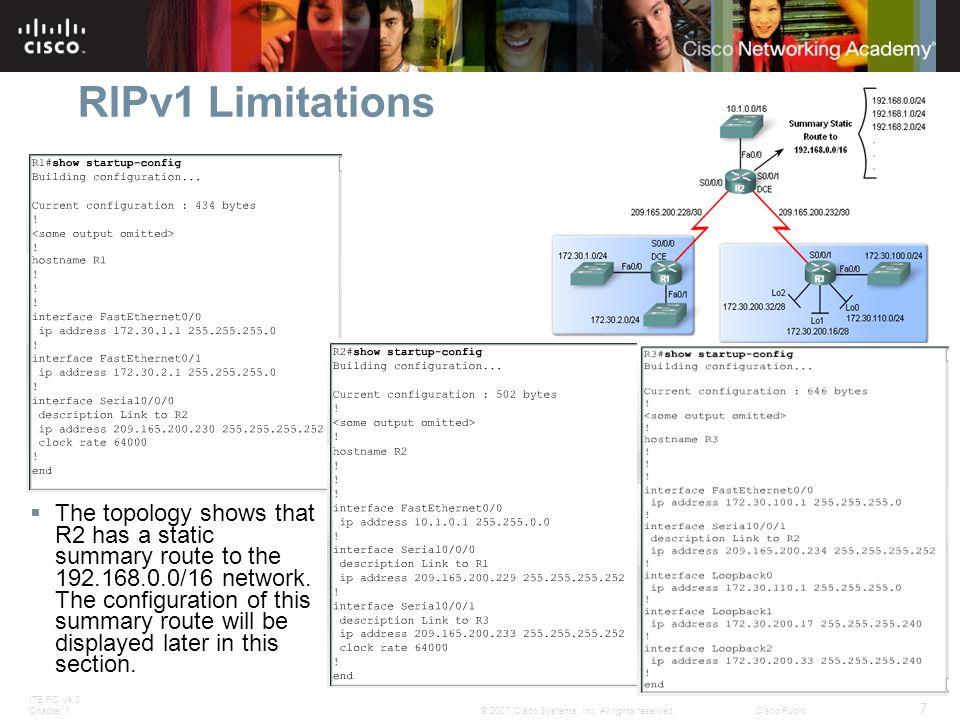 RIPv1 Limitations
