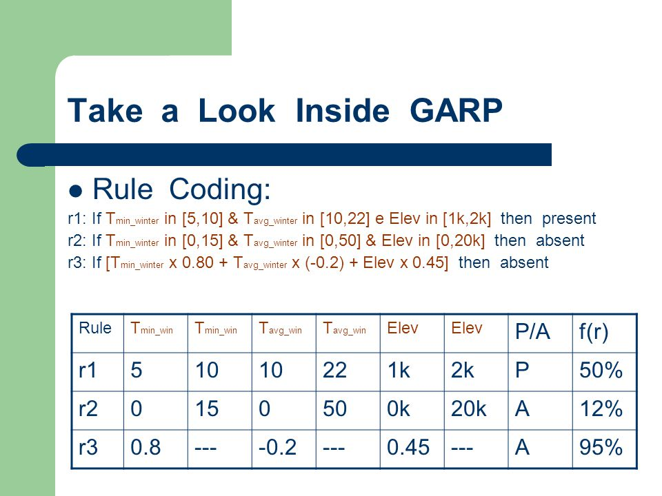Take a Look Inside GARP Rule Coding: P/A f(r) r1 5 10 22 1k 2k P 50%