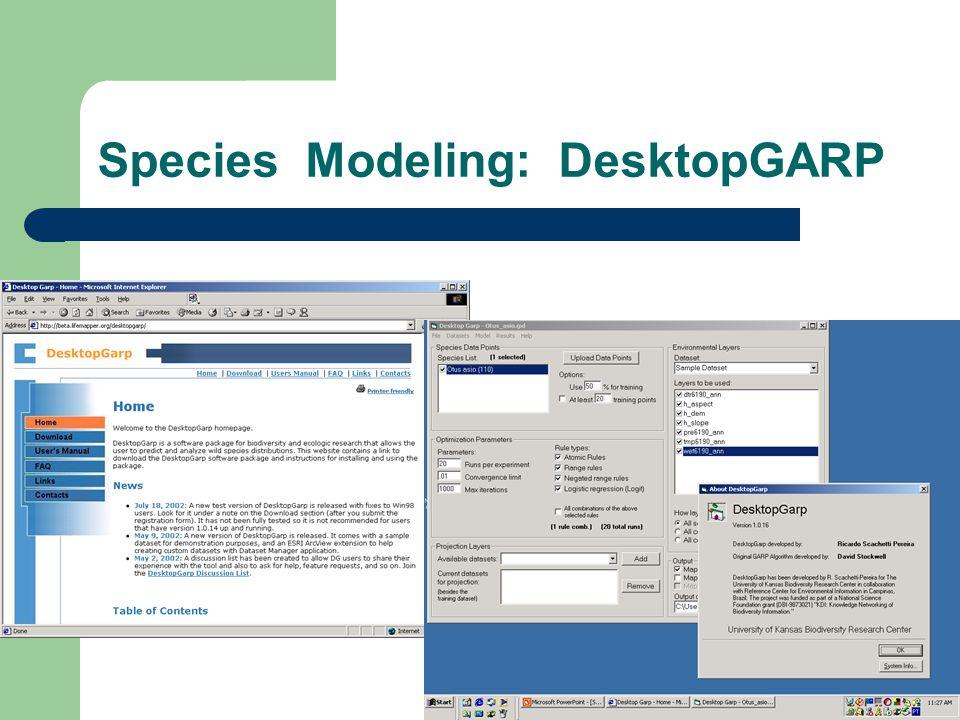 Species Modeling: DesktopGARP