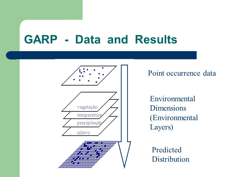 GARP - Data and Results Point occurrence data Environmental Dimensions